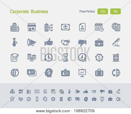 Corporate Business - Granite Icons  A set of 28 professional, pixel-perfect vector icons designed on a 32x32 pixel grid and redesigned on a 16x16 pixel grid for very small sizes.