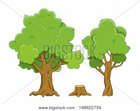 Set of vector cartoon tree and stump illustrations isolated on white background