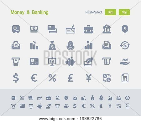 Money & Banking Icons - Granite Icons  A set of 28 professional, pixel-perfect vector icons designed on a 32x32 pixel grid and redesigned on a 16x16 pixel grid for very small sizes.