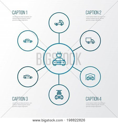 Auto Outline Icons Set. Collection Of Lorry, Washing, Sedan And Other Elements