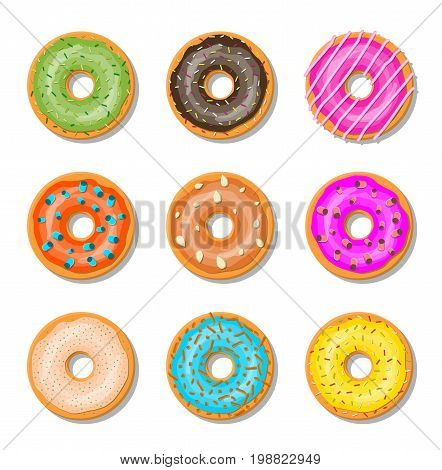 Donut cake set isolated on whitt background. Doughnut into glaze collection. Sweet sugar icing. Vector illustration in flat style