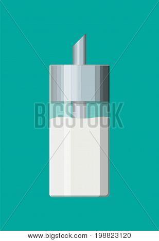 Sugar in glass sugar dispenser. Vector illustration in flat style