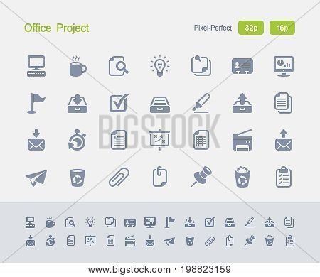 Office Project - Granite Icons  A set of 28 professional, pixel-perfect vector icons designed on a 32x32 pixel grid and redesigned on a 16x16 pixel grid for very small sizes.