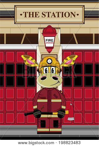 Firefighter Giraffe At Station
