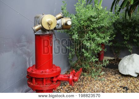 Fire Hydrant pipe and valve in the garden