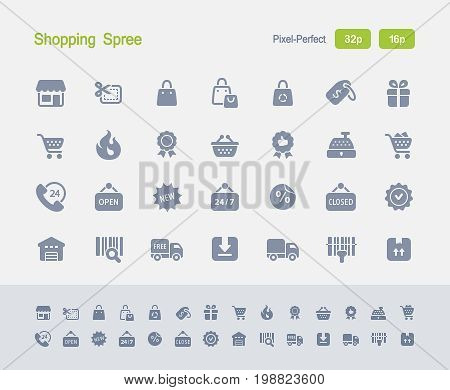 Shopping Spree - Granite Icons  A set of 28 professional, pixel-perfect vector icons designed on a 32x32 pixel grid and redesigned on a 16x16 pixel grid for very small sizes.