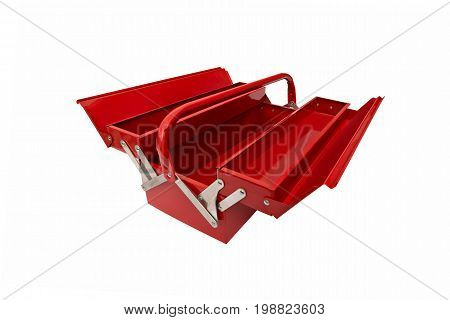 open red metallic closed iconic toolbox on white background
