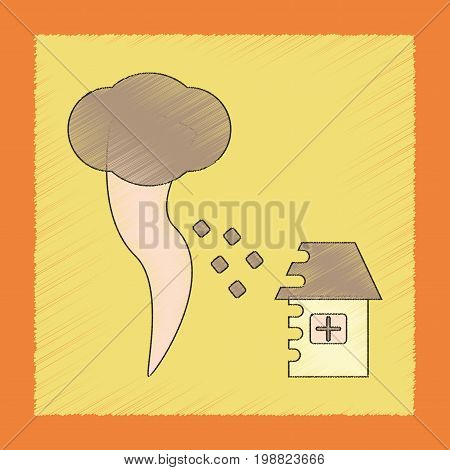 flat shading style icon of tornado destruction house