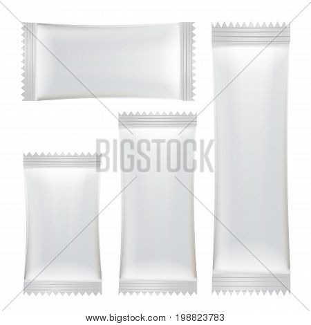 Sachet Vector. White Empty Clean Blank Of Stick Sachet Packaging. Realistic Isolated Illustration