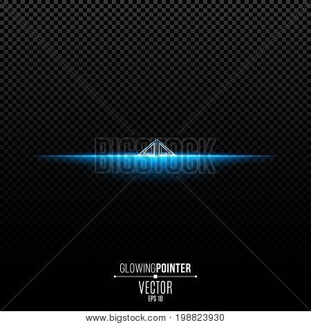 Abstract glowing blue pointer with pattern up. Magic arrow with backlight and glowing lights. Pointer for the player interface. Interface Element. Vector illustration