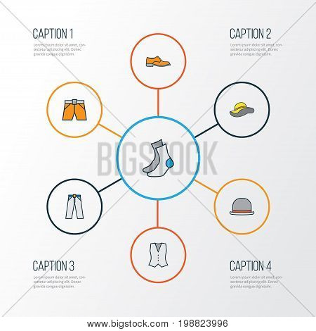 Garment Colorful Outline Icons Set. Collection Of Vest, Panama, Elegant Headgear And Other Elements