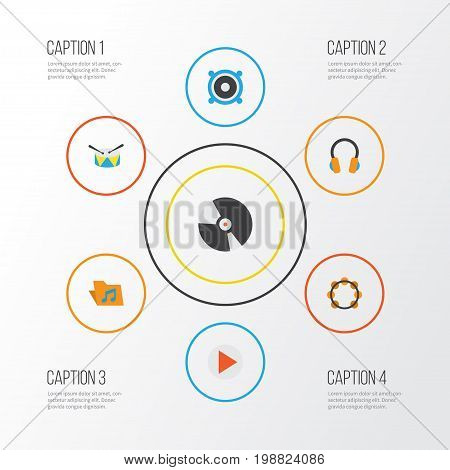 Music Flat Icons Set. Collection Of Ear Muffs, Button, Loudspeaker And Other Elements