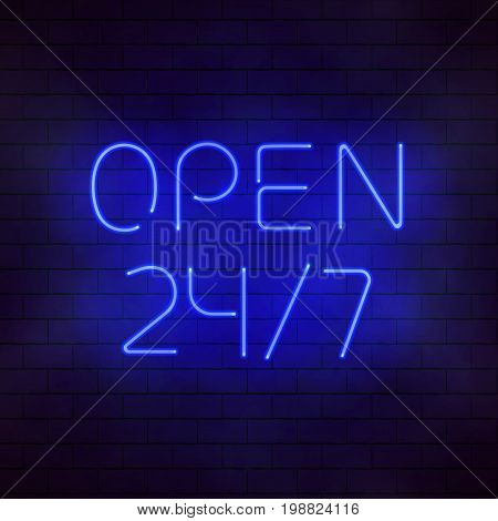 Round the clock open neon sign. Glowing 24 7 signboard. Luminous incandescent lamps vector illustration