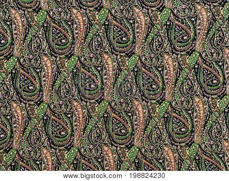 Colorful kashmir shawl fabric with swirly pattern