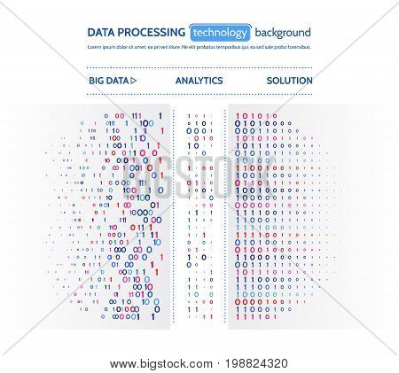 Big data visualization. Information analytics concept. Abstract stream information. Filtering machine algorithms. Sorting binary code. Vector technology background.