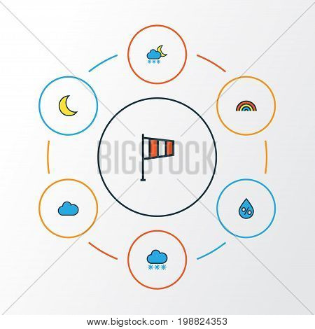 Weather Colorful Outline Icons Set. Collection Of Snowing, Rainbow, Raindrop And Other Elements