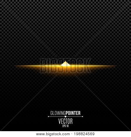 Abstract glowing golden pointer up. Magic arrow with backlight and glowing lights. Pointer for the player interface. Interface Element. Vector illustration
