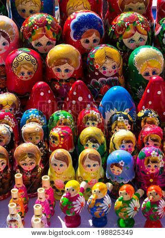 Many colored matryoshkas. Nesting doll. Famous Russian handmade souvenir of wood.