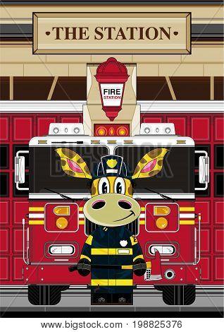 Cute Giraffe Fireman Scene