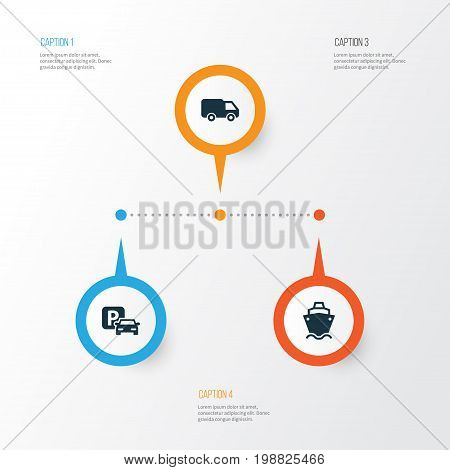 Shipment Icons Set. Collection Of Road Sign, Tanker, Truck And Other Elements
