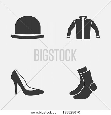 Garment Icons Set. Collection Of Heel Footwear, Half-Hose, Panama And Other Elements