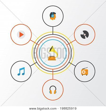Multimedia Flat Icons Set. Collection Of Tone, Male, Button And Other Elements