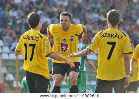 KAPOSVAR, HUNGARY - MAY 1: Videoton players celebrate a goal at a Hungarian National Championship soccer game Kaposvar vs. Videoton May 1, 2010 in Kaposvar, Hungary.