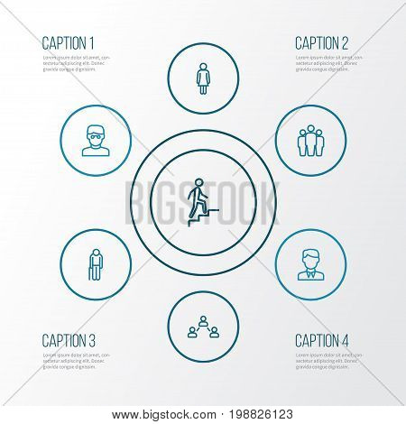 Person Outline Icons Set. Collection Of Team, Smart Man, Graybeard And Other Elements