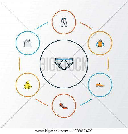 Dress Colorful Outline Icons Set. Collection Of Man Footwear, Trousers, Evening Gown And Other Elements