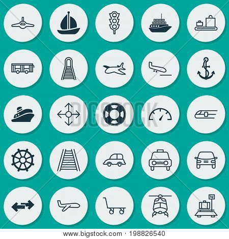 Transport Icons Set. Collection Of Air Transport, Anchor, Travel Boat And Other Elements