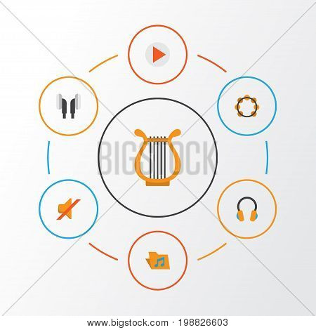 Music Flat Icons Set. Collection Of Sonata, Button, Rhythm And Other Elements