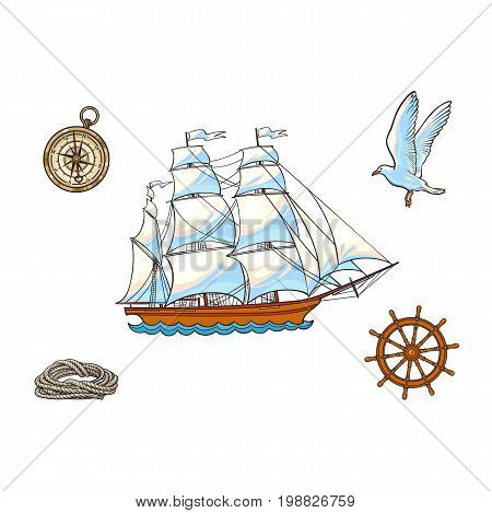Nautical set of ship, compass, seagull, rope and steering wheel, cartoon vector illustration isolated on white background. Cartoon nautical set of sailboat, compass, rope, seagull and steering wheel