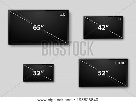 TV screen, Lcd monitor size diagonal display. Vector. 4K television display with comparison of resolutions. Realistic TV screen. Modern stylish lcd panel, led type. Large computer monitor display