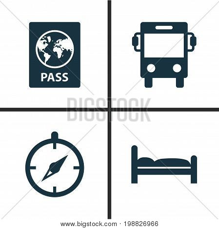 Traveling Icons Set. Collection Of Certificate, Transport, Doss And Other Elements