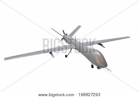 Unmanned Military Aircraft Isolate On White Background
