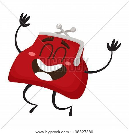Vector money wallet, purse character flat illustration isolated on a white background. Expressive happy emotional, satisfied wallet jumping smiling. Money, success wealth, poverty and richness concept