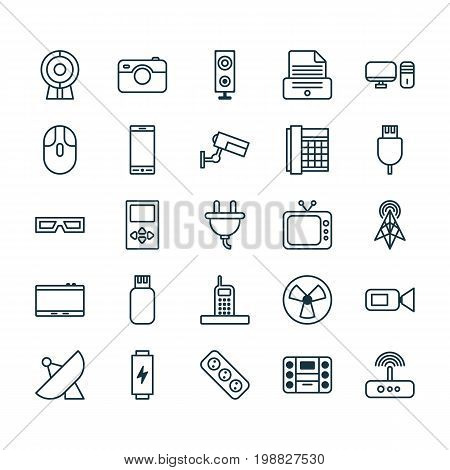 Icons Set. Collection Of Surveillance, Extension Cord, Socket And Other Elements