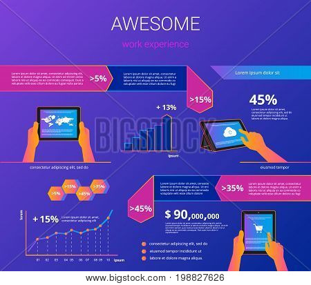 Infographic visualization of usability tablet pc. Gradient line vector illustration of human hands hold digitel tablet for project presentation or e-commerce user experience with design elements