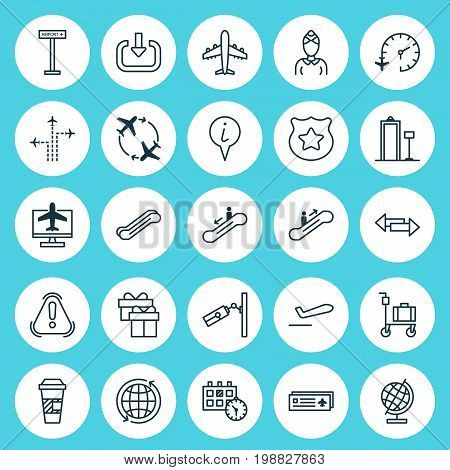 Transportation Icons Set. Collection Of Hostess, Stair Lift, Video Surveillance And Other Elements