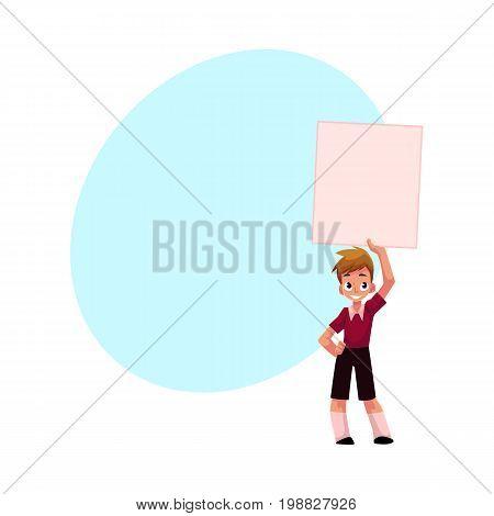 Little boy, child, kid holding blank empty poster, board over head, cartoon vector illustration with space for text. Little boy holding empty, blank poster over head