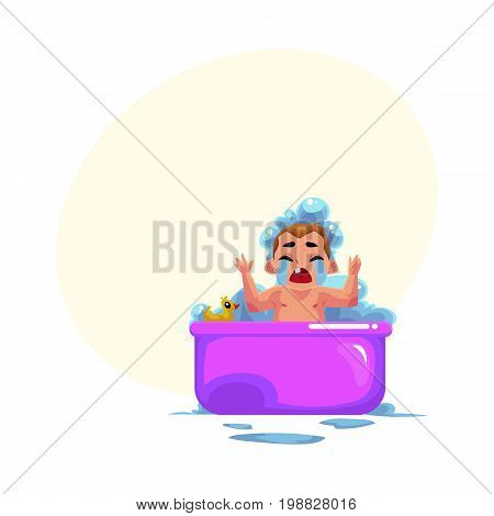 Cute little baby kid, infant, child crying in foam bath, unwilling to wash, cartoon vector illustration with space for text. Little caucasian kid, baby, infant crying sadly in foam bath