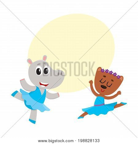 Cute little hippo and bear puppy and kitten characters dancing ballet together, cartoon vector illustration with space for text. Little bear and hippo ballet dancers, ballerinas