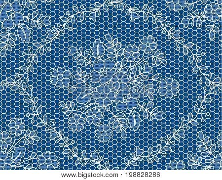 Seamless white lace with floral pattern on dark blue background
