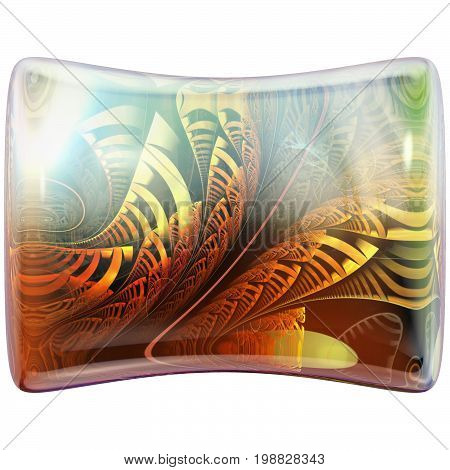 3D Glossy pillow button with colorful fractal ornament embellishment