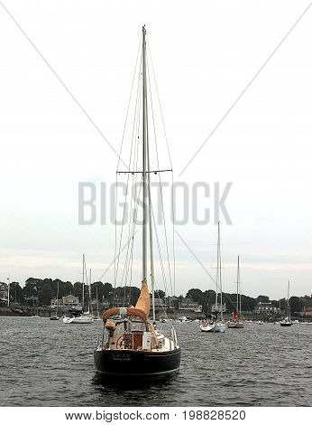 Boston, Massachusetts - September 21, 2014. Sailing boats in Boston harbor