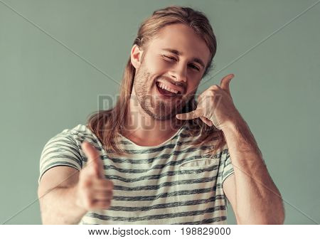 Young Man Gesturing