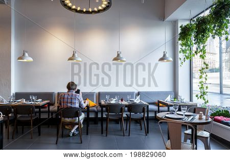Moscow - August 5, 2017: Interior of a Thai restaurant