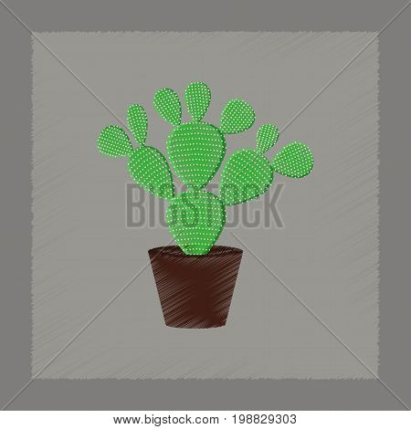 flat shading style Illustrations of plant Opuntia