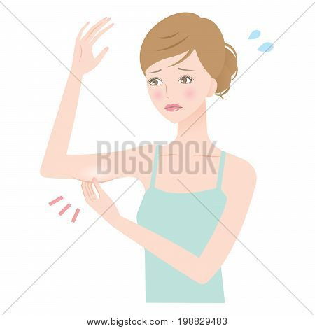 woman's upper arm fat. young woman pinching fat on her upper arm