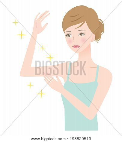 beautiful arm woman. woman hold her beautiful right arm bent in elbow touching it with her left hand